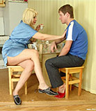 Mother seduces own son during the breakfast & sister joins the