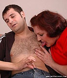 Picked up girl getting laid with mature mother and son