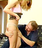 Daughter to show her father her stockings and got filled
