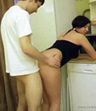Hot hoochie with tattooed loins pulls a kitchen fuck fest with her brother