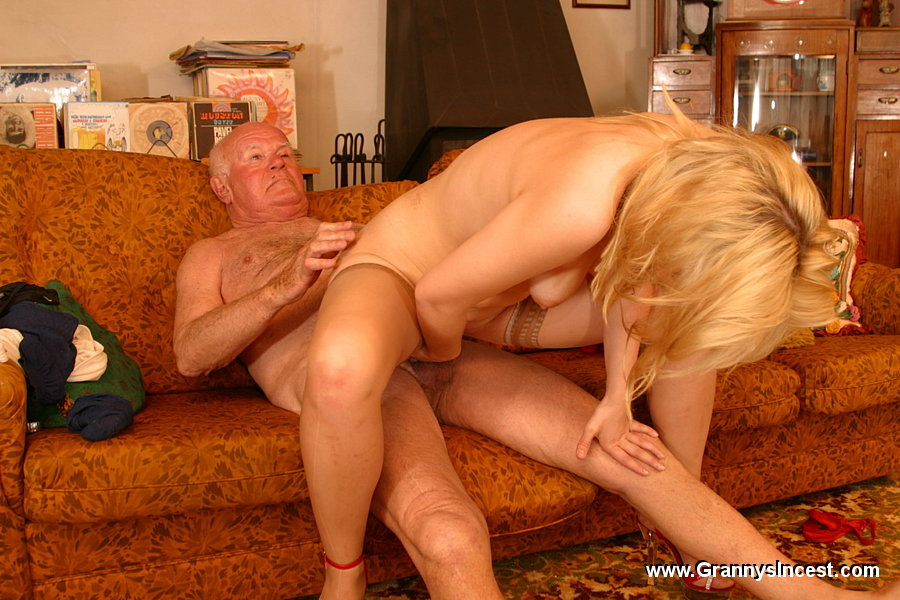 Blonde granny jumps on young cock 3